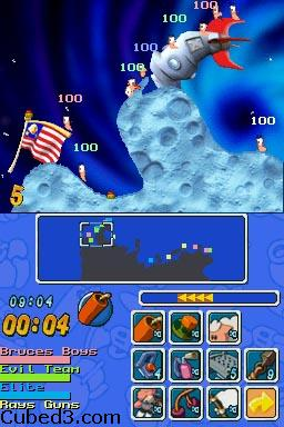 Screenshot for Worms: Open Warfare on Nintendo DS- on Nintendo Wii U, 3DS games review