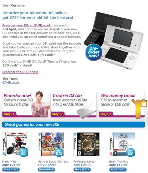 Image for GAME £75 Trade-in Offer for DSi