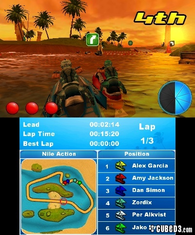 Screenshot for Aqua Moto Racing 3D (Hands-On) on Nintendo 3DS