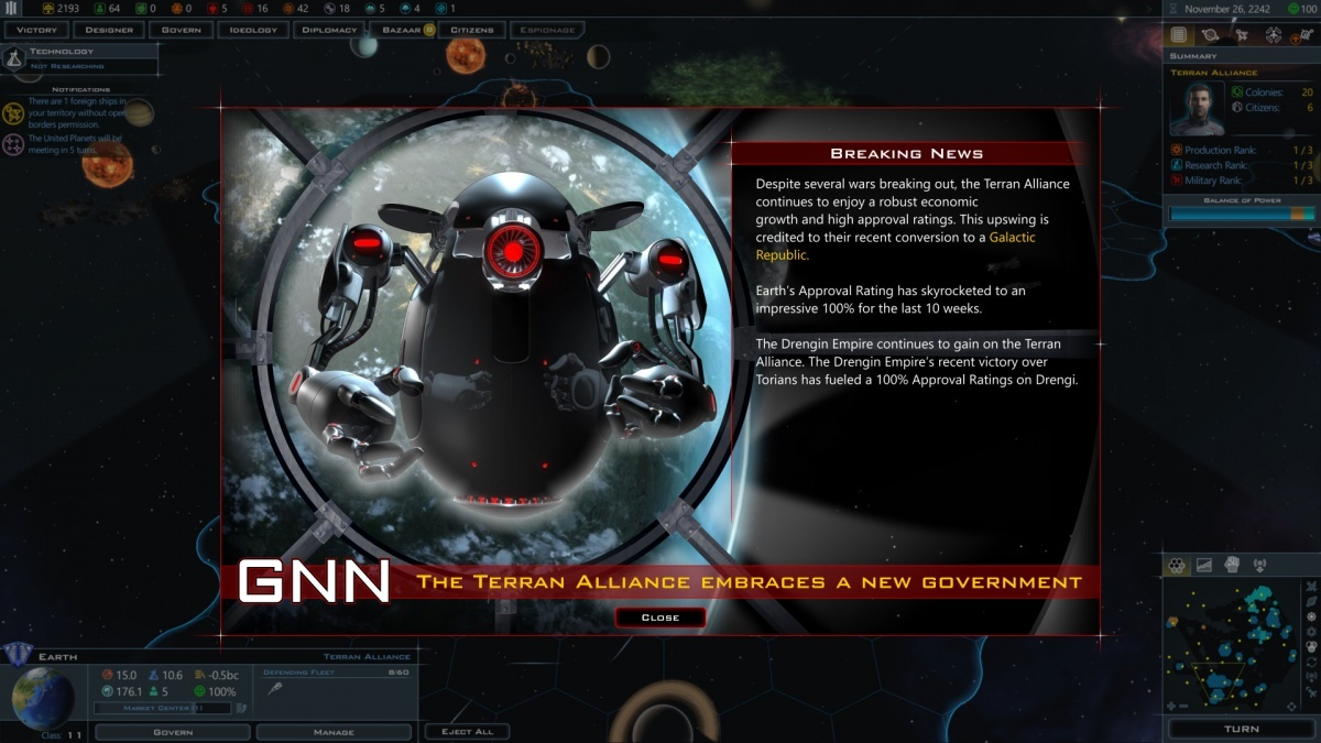 Screenshot for Galactic Civilizations III: Intrigue on PC